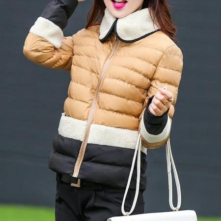 mssefn2015冬 韩时尚甜美拼接色个性领短款修身棉衣百搭外套 潮f30p135