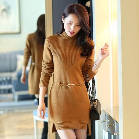 mssefn2015冬季女装新款半高领纯色前短后长配腰带毛衣连衣裙110507P110