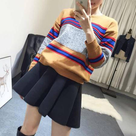 Mssefn2015独家定制秋冬新款条纹针织上衣女显瘦P4829