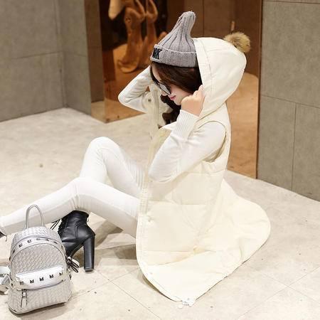 mssefn2015冬 韩甜美公主纯色拼接连帽中长款修身棉衣马甲配真毛帽球f37p155