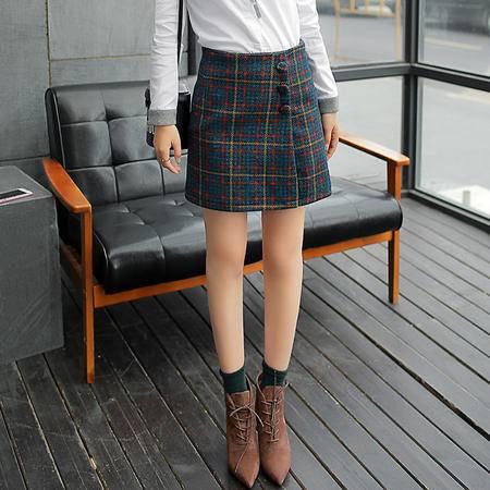Mssefn2015冬装新款格子包臀裙A676