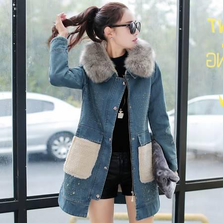 mssefn2015冬季时尚新款女装韩版冬装新品加厚牛仔外套 配高仿毛领