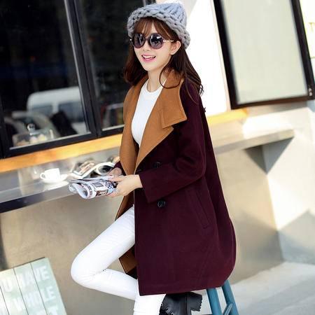 mssefn2015新款韩版中长款毛呢大衣欧美大牌呢子外套女装