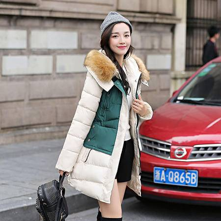 mssefn2015冬女装新款时尚连帽休闲百搭中长款棉衣 配高仿毛领
