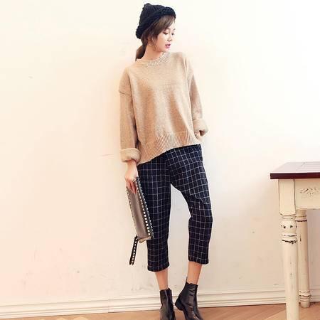 mssefn2015秋季新款韩版显瘦时尚圆领长袖套头针织衫 女