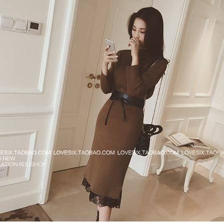 mssefn6度欧美2015秋装韩国新款洋气纯色腰带收腰中长款连衣裙女7580F75