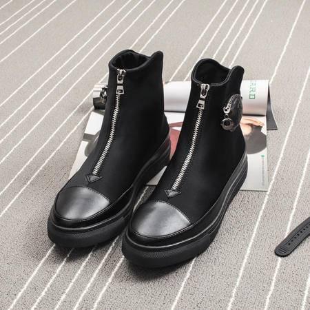 MSSEFN2015秋冬新款男士英伦拉链短靴高帮厚底马丁靴