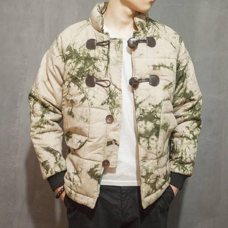 mssefn2015复古中国风男装外套棉衣立领棉袄 皮扣短款棉服 男