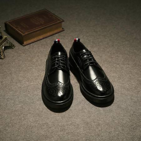 MSSEFN2015新英伦休闲皮鞋 低帮复古布洛克雕花彩带潮男大头皮鞋 X12-1