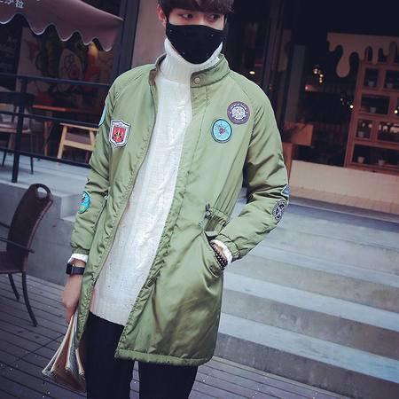 mssefn2015冬装韩版新款男中长款棉衣青年外套徽章绣标男式棉袄特