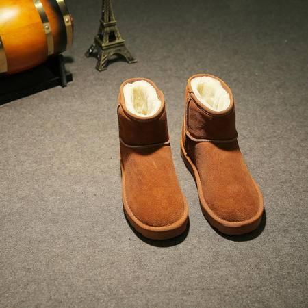 MSSEFN2015新潮男雪地靴真皮保暖加厚男鞋防滑真皮短靴潮款雪地靴