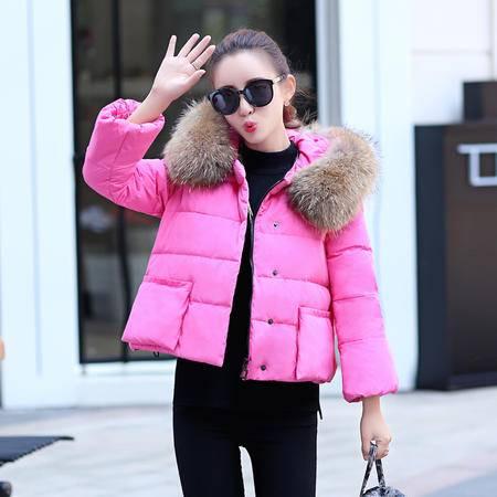 MSSEFN2015冬款小香风连帽羽绒服韩版短款羽绒外套
