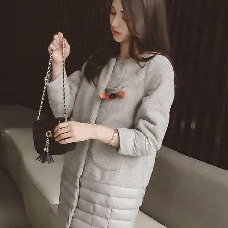 mssefn2015秋冬新款韩版宽松显瘦圆领羊羔毛中长款风衣外套女
