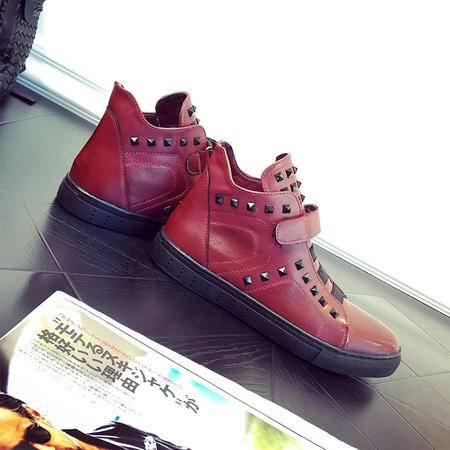 MSSEFN2015秋冬季新款套脚男士耐磨休闲高帮皮鞋