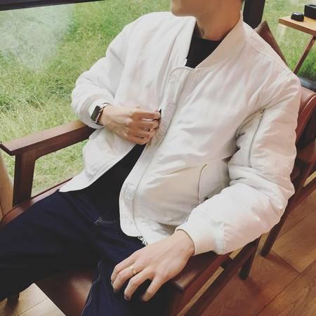 mssefn2015日系欧美复古港风潮牌纯色绣花外套夹克棉衣潮男