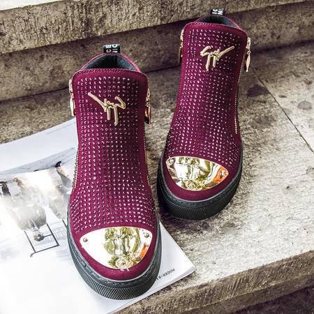 MSSEFN2015冬季新款 鞋面镶钻亮片休闲高帮鞋 1108A-3112