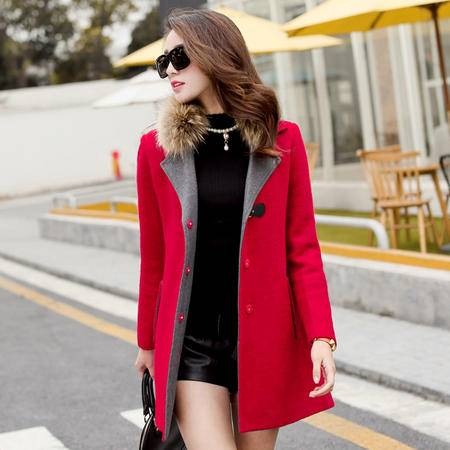 MSSEFN2015冬季新款女装加厚毛呢外套真毛领半开领纯色呢大衣SM083