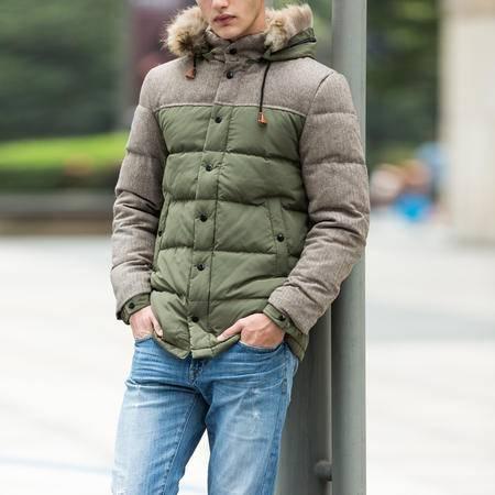 mssefn2015男士新款中长羽绒服大毛领加厚大码 羽绒服男