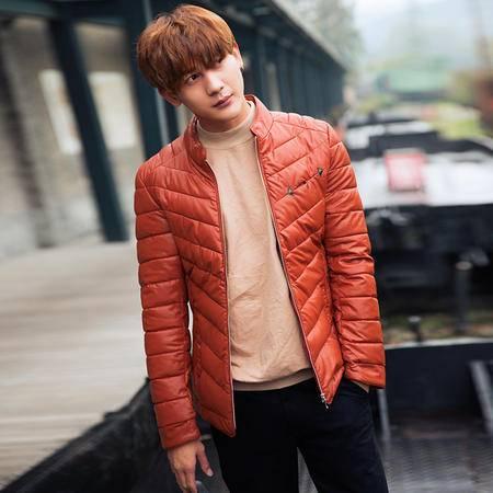 MSSEFN2015*冬季棉袄加厚外套男款pu皮棉衣修身青年休闲冬装棉服8818