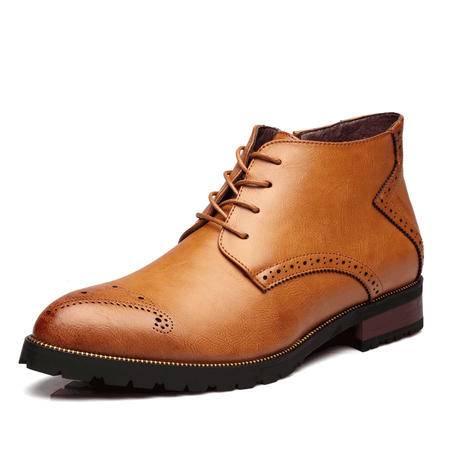 MSSEFN2015冬季男士皮鞋潮流欧美风雕花中帮男皮靴A136-05882