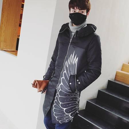 mssefn2015韩版修身加厚潮男中长款棉衣外套时尚保暖棉大衣