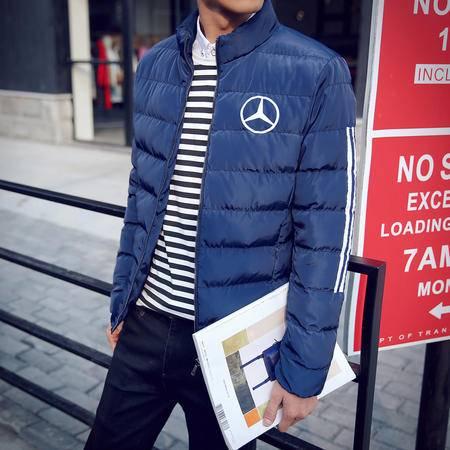MSSEFN2015新款冬装男青年加厚保暖羽绒棉衣立领修身棉服藏青色