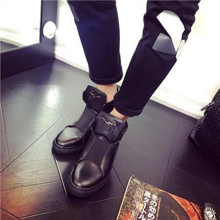 MSSEFN2015真皮英伦马丁靴男中筒靴男皮靴雕花靴