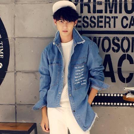 2016春季新款中长款外套牛仔风衣浅蓝色大口袋潮流韩风Z02-P105