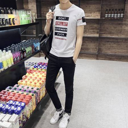 MSSEFN男士短袖印花圆领休闲T恤