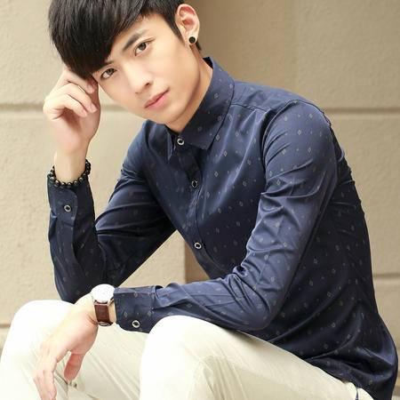 mssefn 春季男士长袖衬衫韩版修身印花男1009-C05-P55