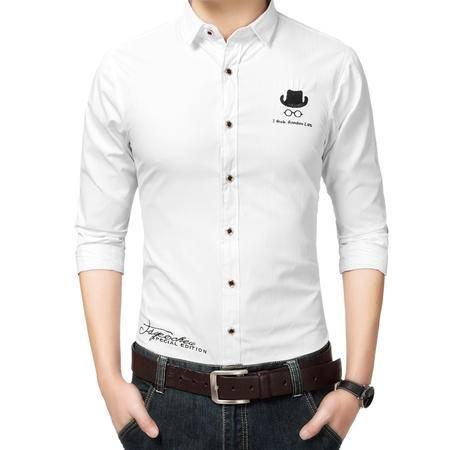 mssefn春装胖子长袖衬衫韩版修身型男英伦男装长袖超大白色衬衣968P45
