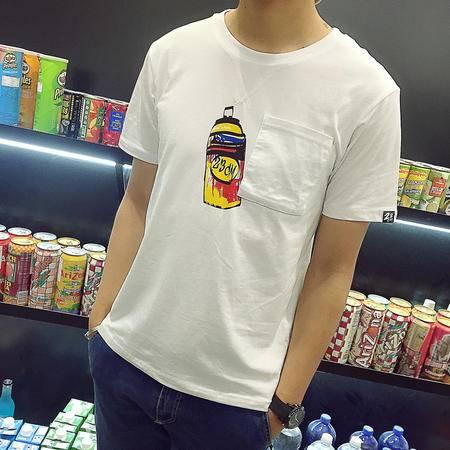 MSSEFN新款2016夏季日系男士短T恤小清新青少年圆领短袖T恤男 白502-P35
