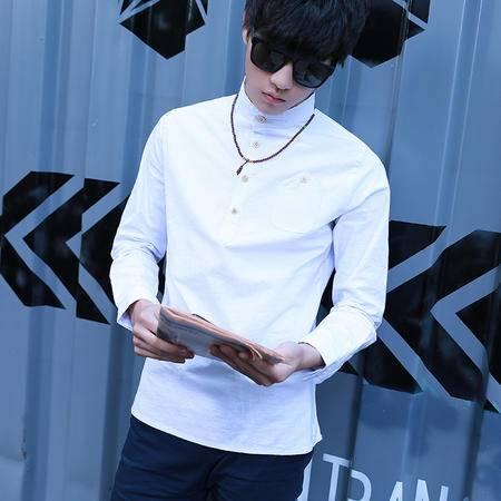 MSSEFN2016春款男士衬衣圆领棉麻长袖衬衫春装1099-C04-