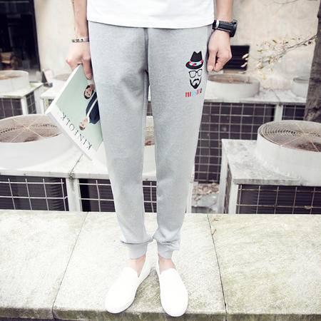 mssenf2016春夏潮裤男修身运动裤绅士印花显瘦束脚裤B206-K16-P50
