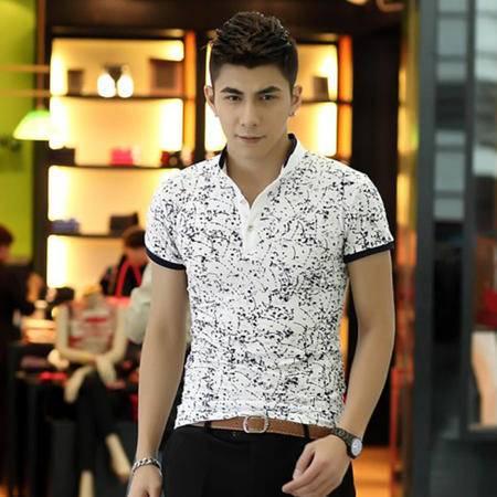 MSSEFN夏季男装衣服 商务立领泼墨男士短袖T恤POLO衫1666-DT282-P35
