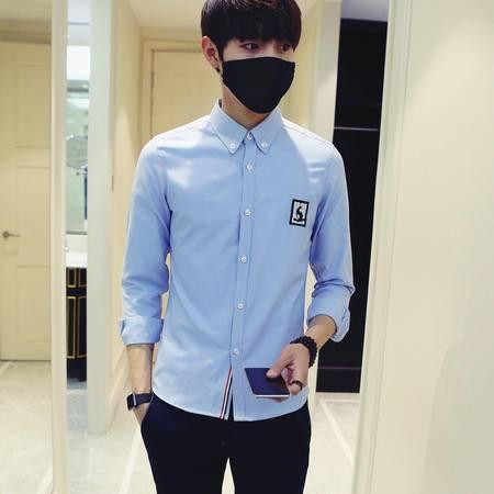 爆款衬衫Mssefn2016春夏1季男青年长袖衬衫日系修身刺绣衬衫CS32
