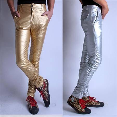 MSSEFN新款个性男装紧身PU皮裤男士修身小脚裤男款皮裤