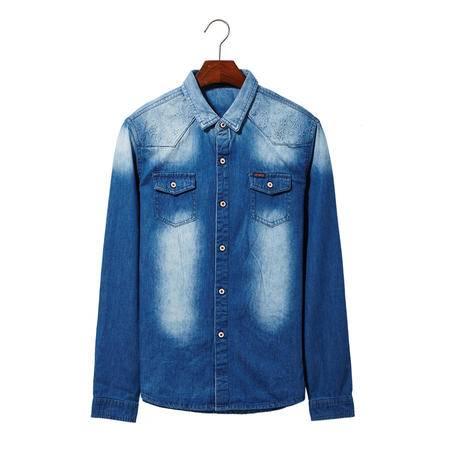 MSSEFN春装时尚休闲牛仔衬衫男长袖修身纯棉水洗柔软牛仔衬衣