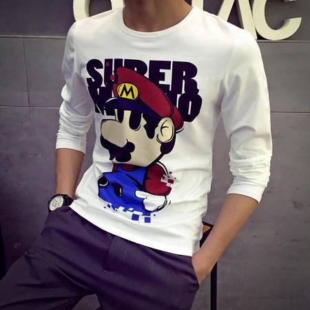 MSSEFN圆领T恤衫超级玛丽马里奥卡通图案动漫潮款圆领长袖卫衣