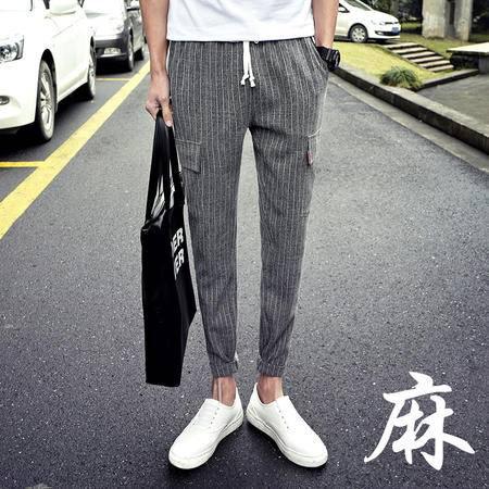 MSSEFN春夏精品棉麻韩版修身九分长裤两穿小脚休闲裤