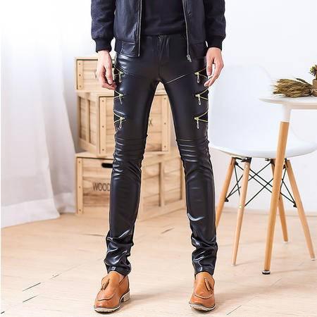 MSSWFN新款男士黑色pu皮裤男款紧身韩版休闲裤男长裤519-K39-P75