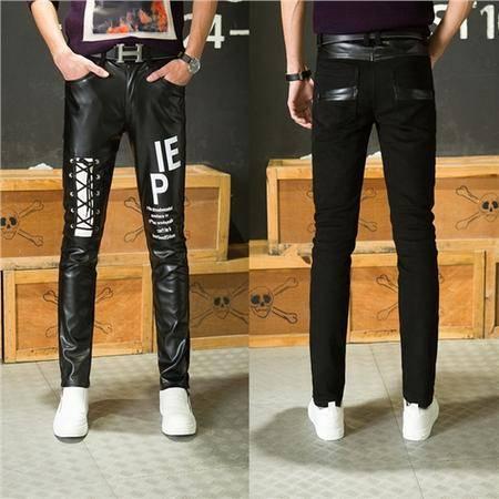 MSSEFN新款时尚长裤男士皮裤小脚 拼接修身韩版机车pu皮裤