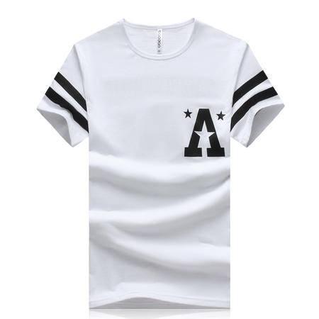 MSSEFN夏季男士休闲圆领大码A字母短袖修身T恤