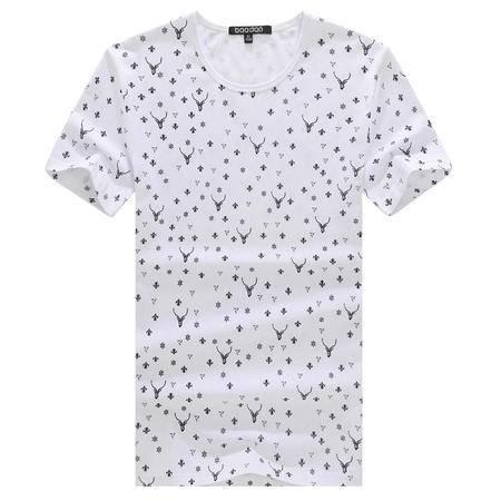 MSSEFN夏季休闲小羚羊图案男士圆领短袖T恤