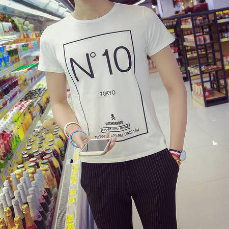 MSSEFN新款男士圆领短袖T恤季纯棉印花圆领修身短T    222-DX10-P25