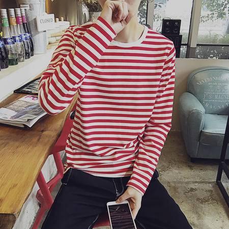 MSSEFN2016春装精品薄款圆领条纹长袖T恤