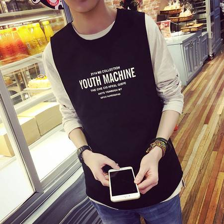 mssefn夏装精品韩版纯棉字母印花个性时尚背心T恤