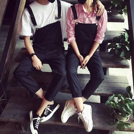 MSSEFN春装新款韩版情侣装背带裤学院风男女宽松连体吊带裤 K12=P68