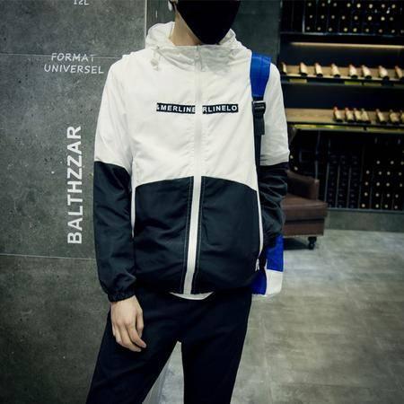 MSSEFN几何图案印花韩风连帽棒球服夹克男 外套男 量大从优