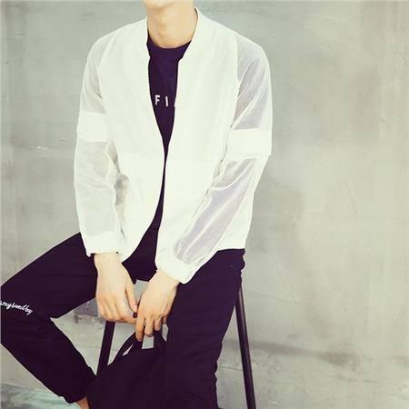 MSSEFN店主风 新款蕾丝透明袖 薄款夹克 外套男